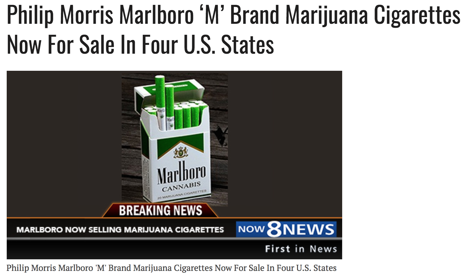 Philip morris marlboro 'm' brand marijuana cigarettes now for sale in four u.s. states