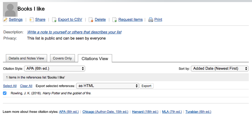 citations view of lists in worldcat