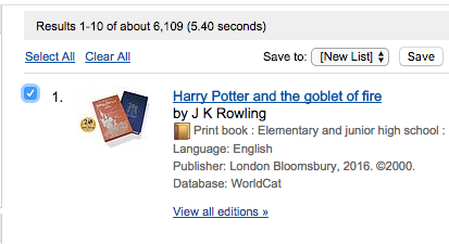 Harry potter search result in worldcat.