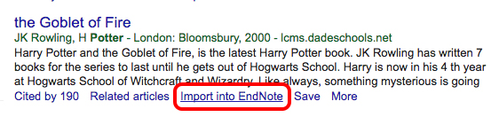 import into endnote in google scholar