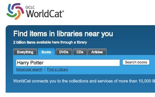 Search on world cat for harry potter