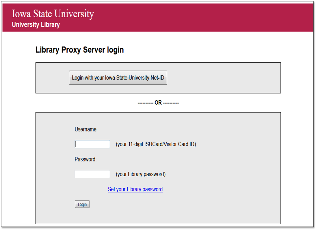 The login screen has 2 options for signing on. You may use your ISU Net-ID or your 11-digit ISU card login and a password you set up yourself.