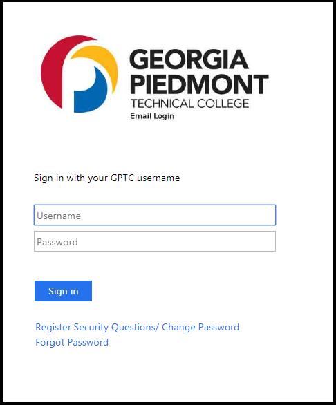 Screen grab of the GPTC email login page