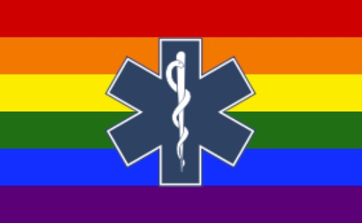 rainbow gay pride flag with medical symbol on it (snake and staff)