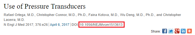 screenshot of NEJM video Use of Pressure Transducers with DOI highlighted