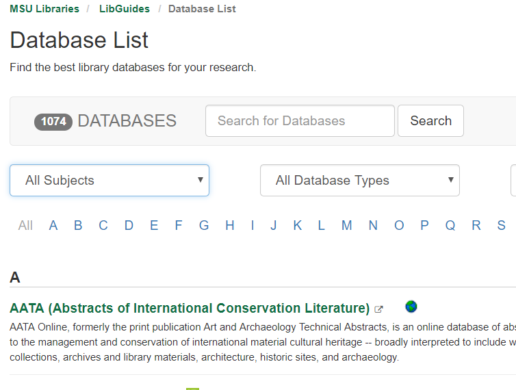 "databases page with the ""All Subjects"" dropdown menu at the top left"