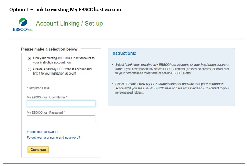 Option 1 - link to existing account