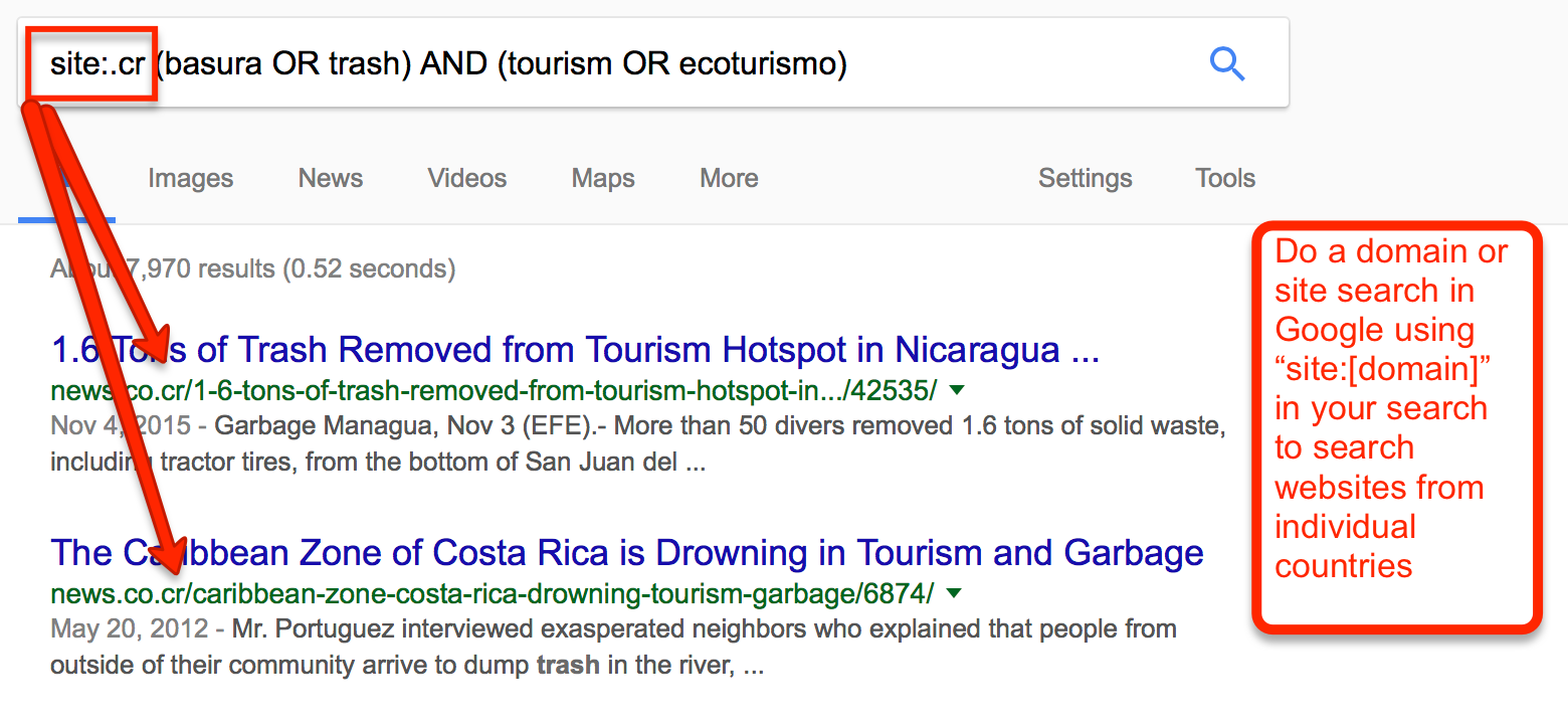 site search in Google for (basura OR trash) AND (tourism OR ecoturismo)