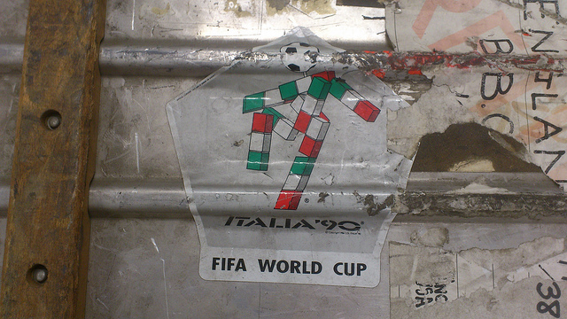 The mascot of the 1990 World Cup, as seen on a flight case