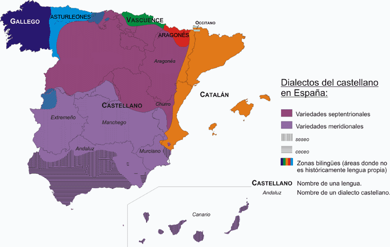 Map of Dialects of Castilian in Spain