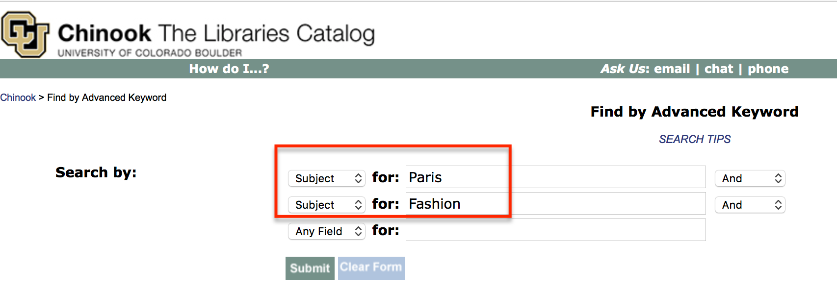 Subject search in Chinook for Parish and Fashion