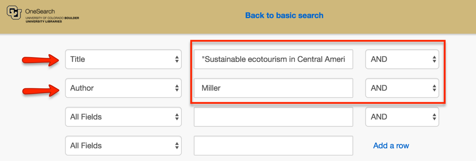 "Title and Author search in OneSearch for Andrew P. Miller's ""Sustainable ecotourism in Central America: comparative advantage in a globalized world"""