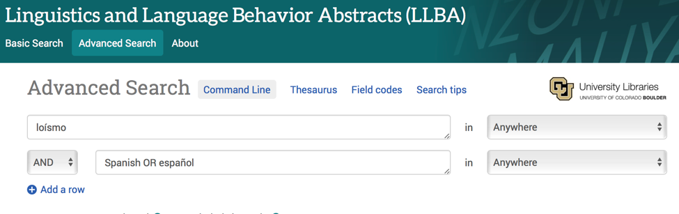 Advanced Search page of Linguistics and Language Behavior Abstracts showing Boolean search