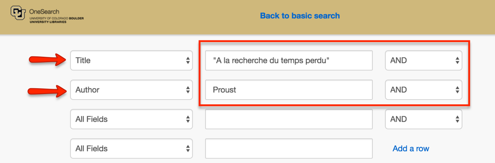 Title and Author search in OneSearch for Proust's A la recherche du temps Peru