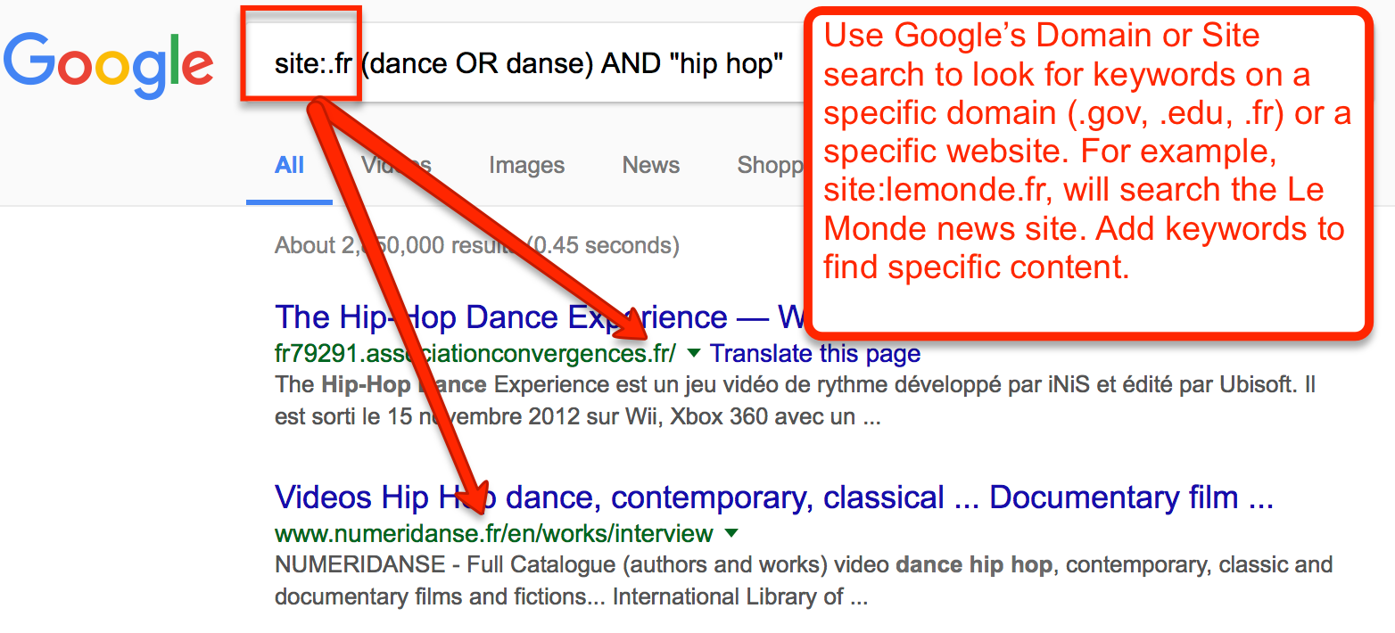 "Google site search on domain fr for (dance OR danse) AND ""hip hop"""