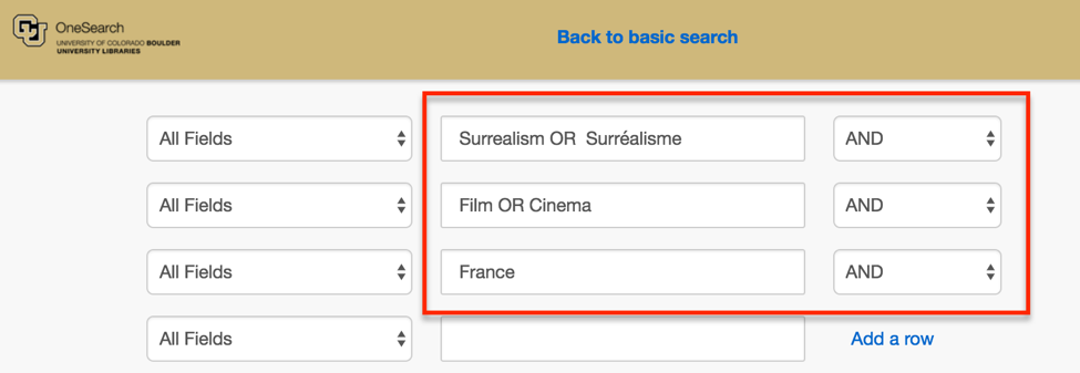 Boolean-style search for (Surréalisme OR Surrealism) AND (film OR cinema) AND France