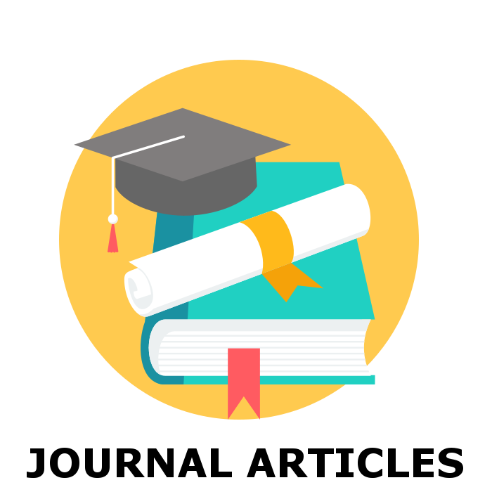 Journal articles icon with cap, book, and diploma.