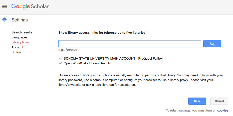Google Scholar Library links