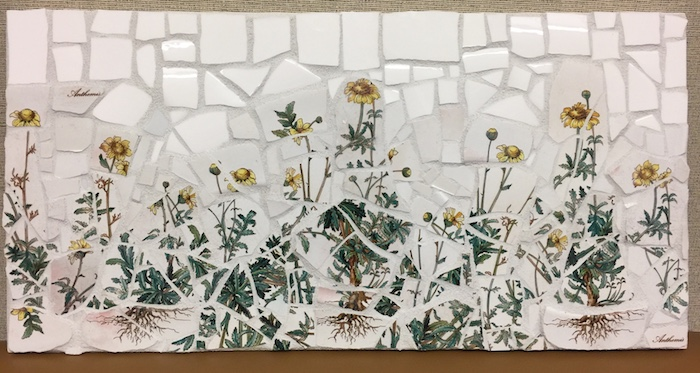 flower mosaic of broken china
