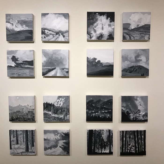 series of burned landscapes in grayscale