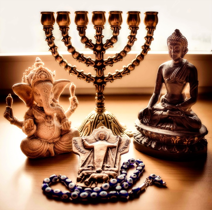 various religious symbols and artifacts