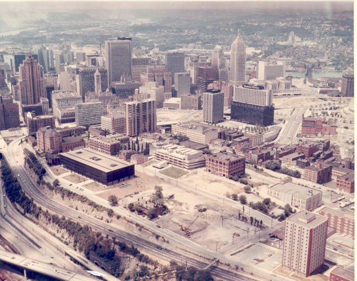 An aerial view of Duquesne's campus in 1968.