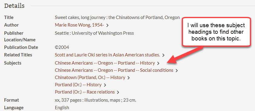 PSU library catalog record with Subjects highlighted