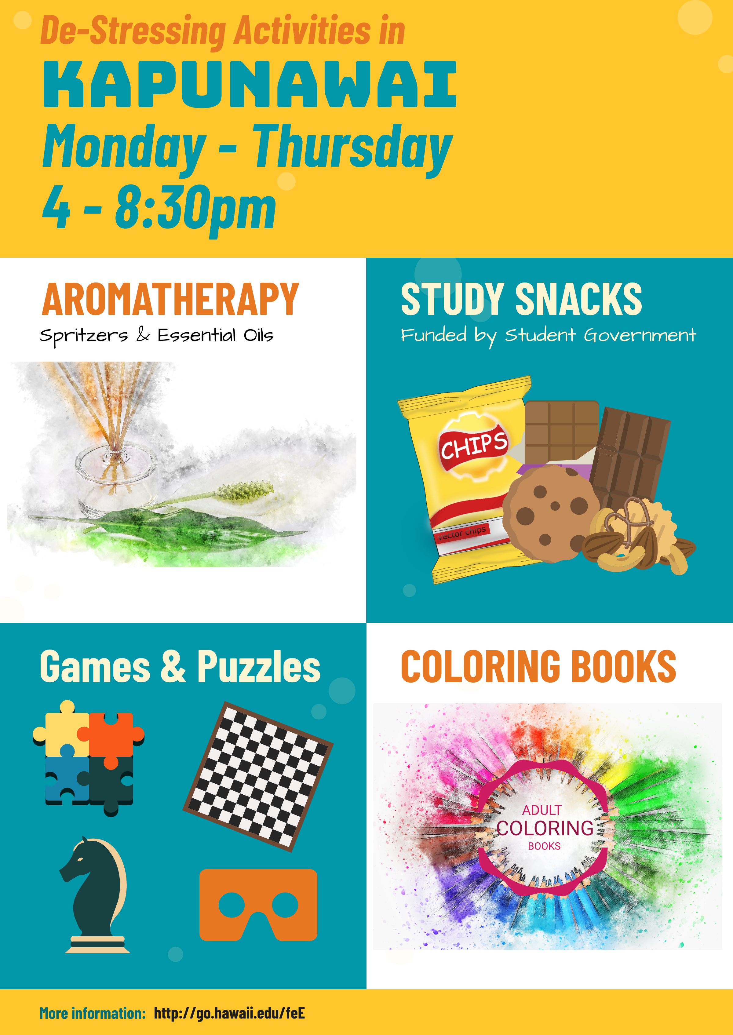 Finals Countdown De-Stressing Activities in Kapunawai: Monday-Thursday, 4-8pm