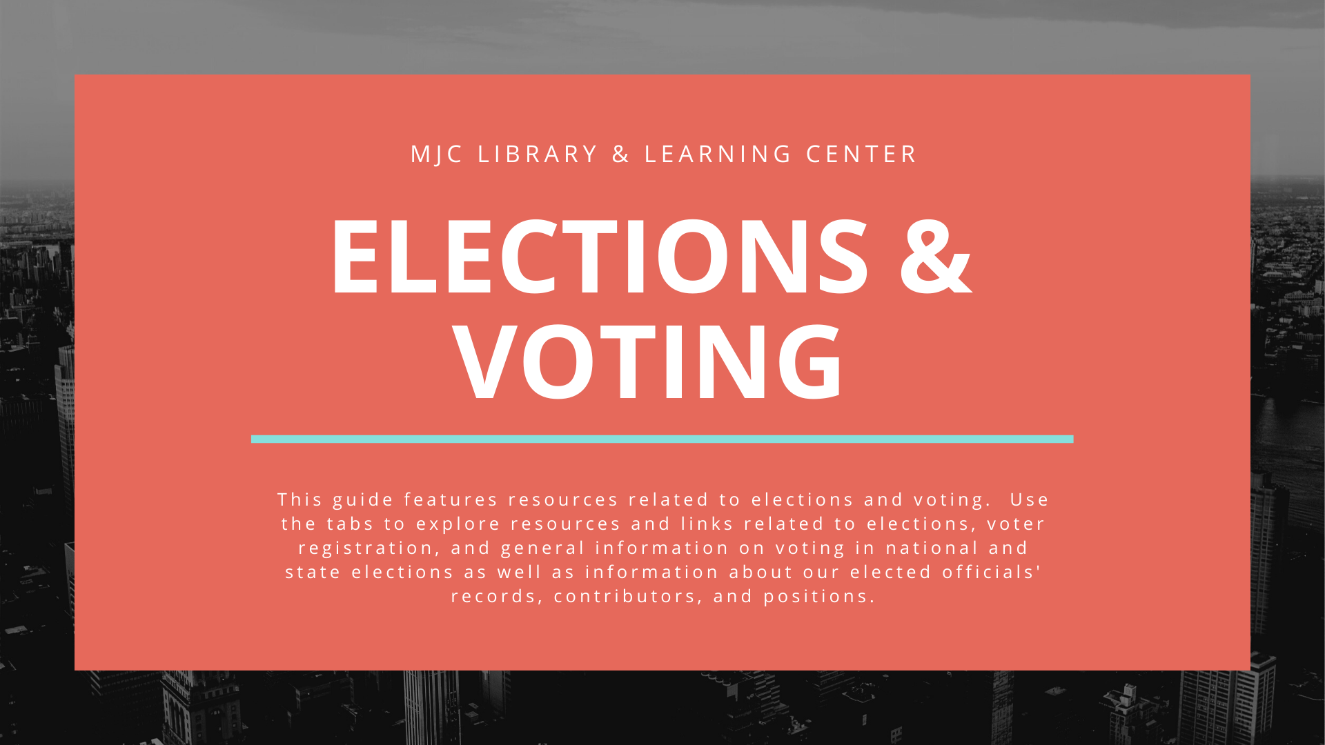 IMAGE WITH TEXT: This research guide features resources related to elections and voting.  Use the tabs to explore resources and links related to the November 2018 election, voter registration, and general information on voting in national and state elections as well as information about our elected officials' records, contributors, and positions.