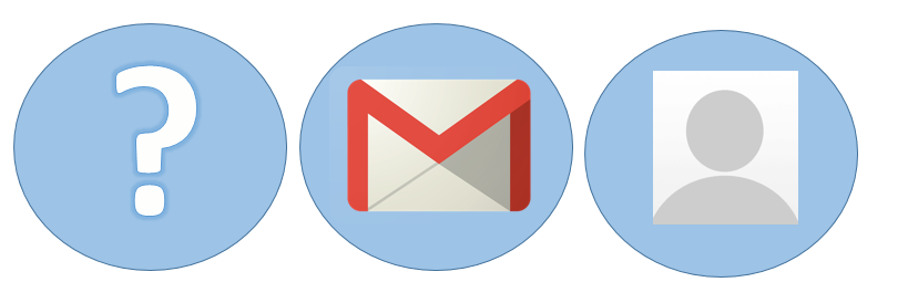 Three icons: a question mark, e-mail, and person indicating how librarians can work with students