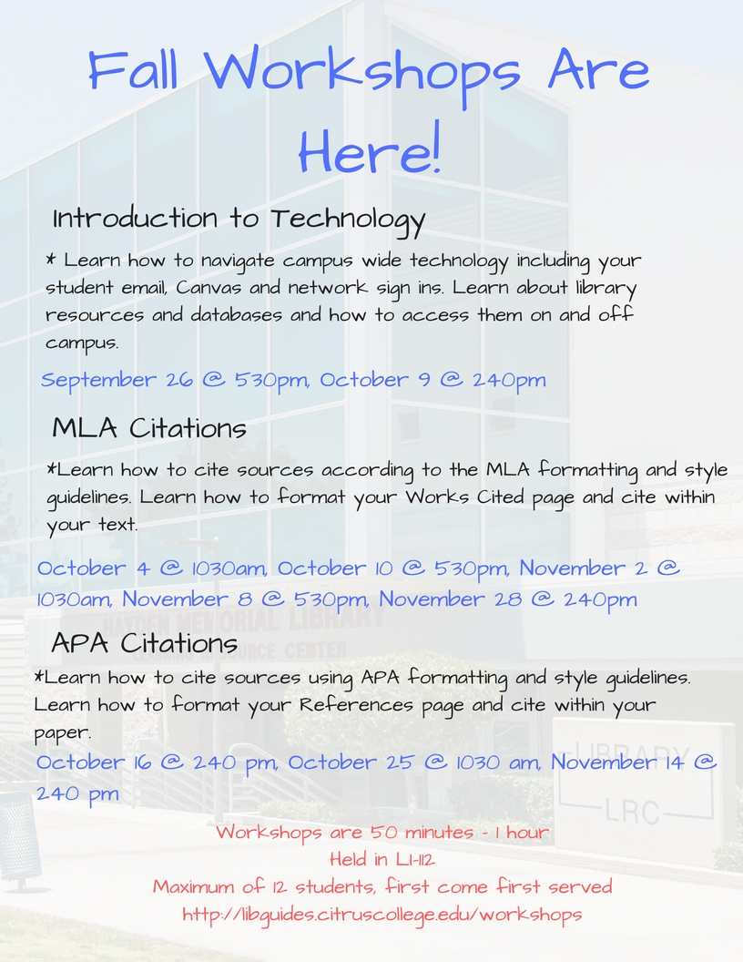 Fall workshop schedule