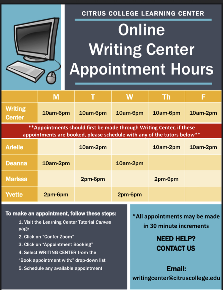 online writing center hours