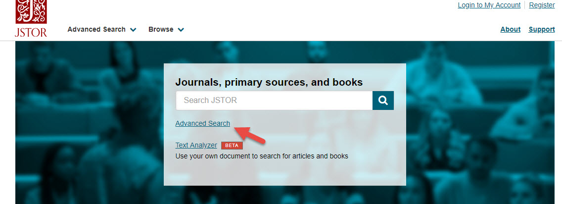 JSTOR main screen