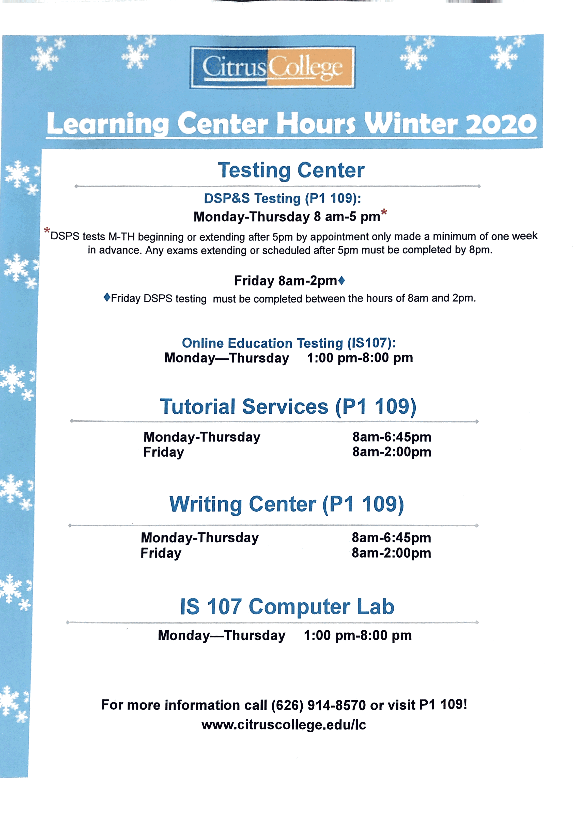 Learning and Writing Center Winter 2020 Hours