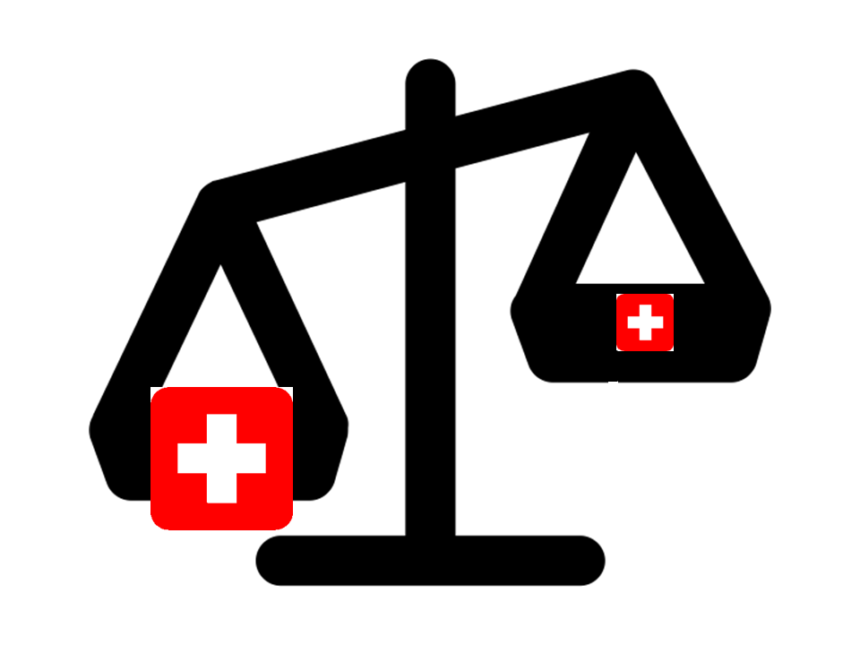 Balance scale weighing large and small red health care symbols is tipped left by bigger symbol.