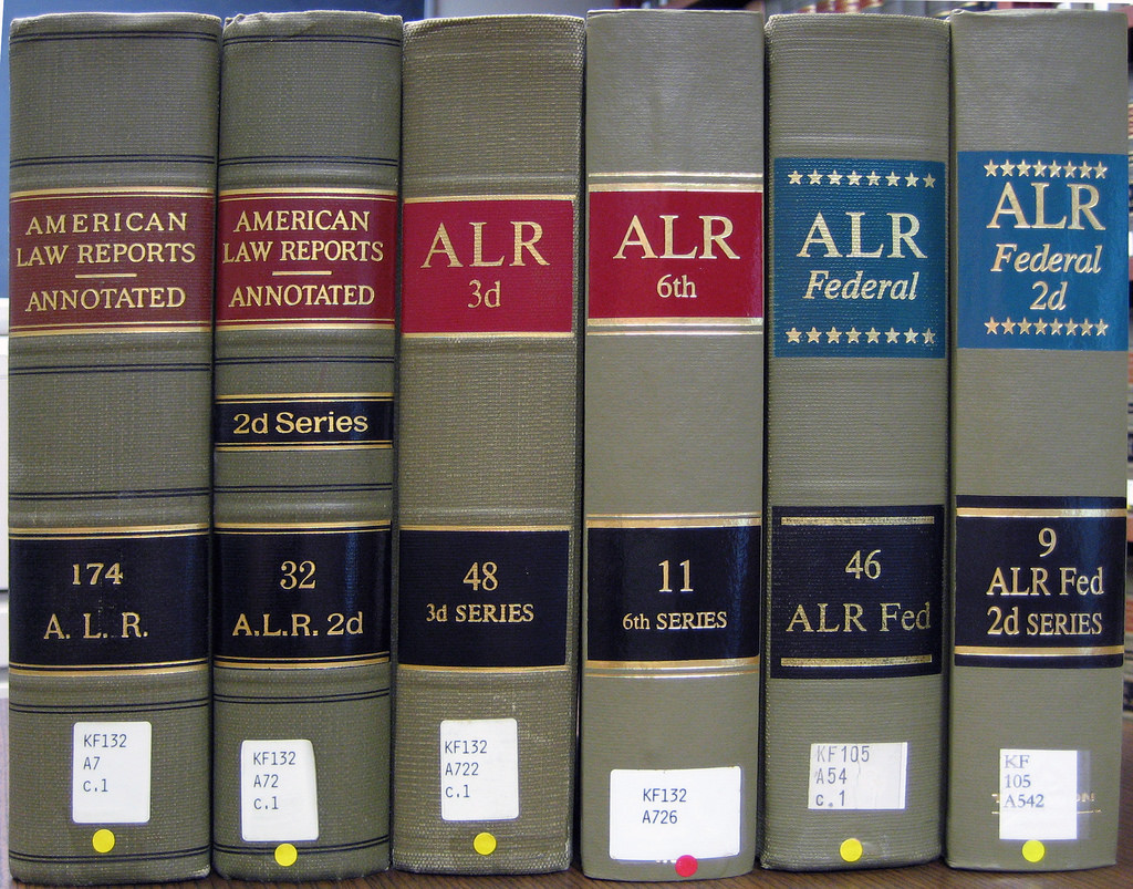 Annotated Law Reports books on a shelf in a library