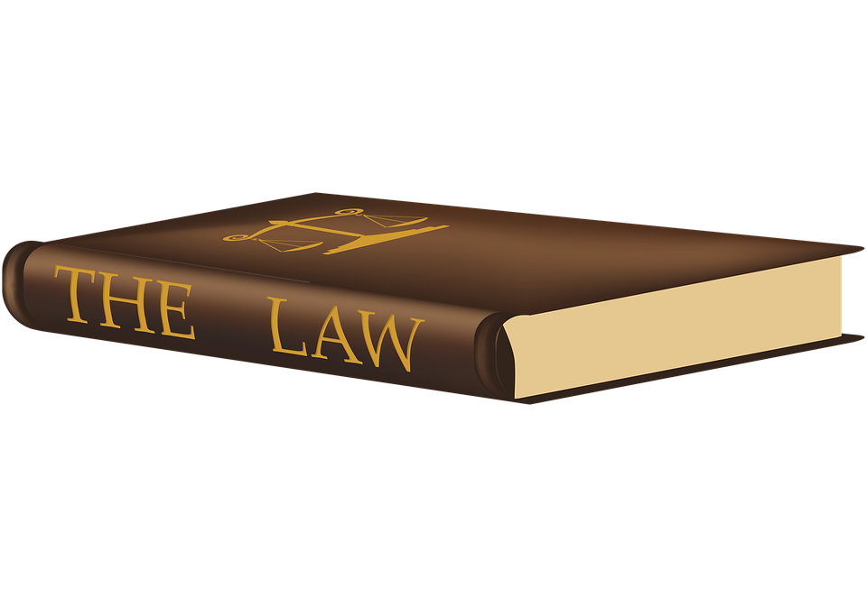 Brown law book with legal scales printed on the cover in gold letters