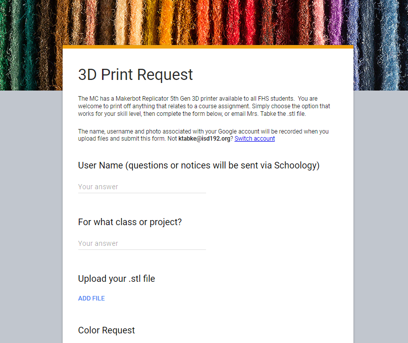 3D Printing Request Form