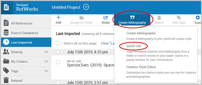 "alt=""screenshot of create bibliography tab and quick cite within"""