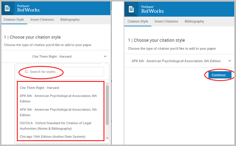 "alt=""screenshot of citation style window to choose your referencing style"""