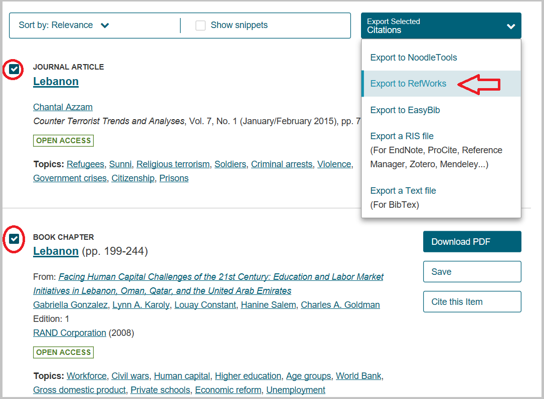 "alt=""screenshot of how to export several citation from jstor to refworks"""