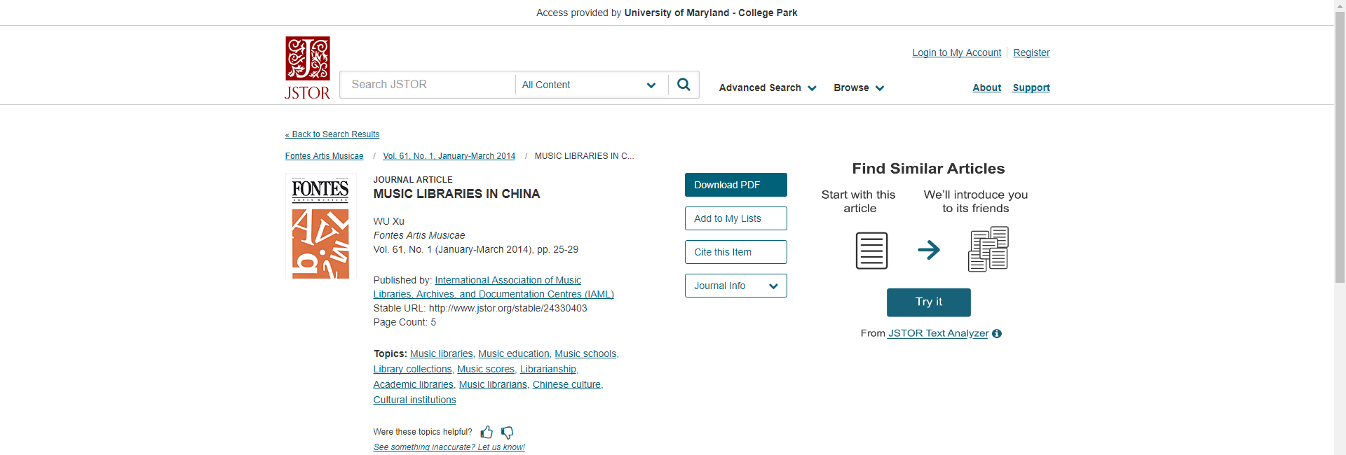 Finding a permalink on JSTOR.