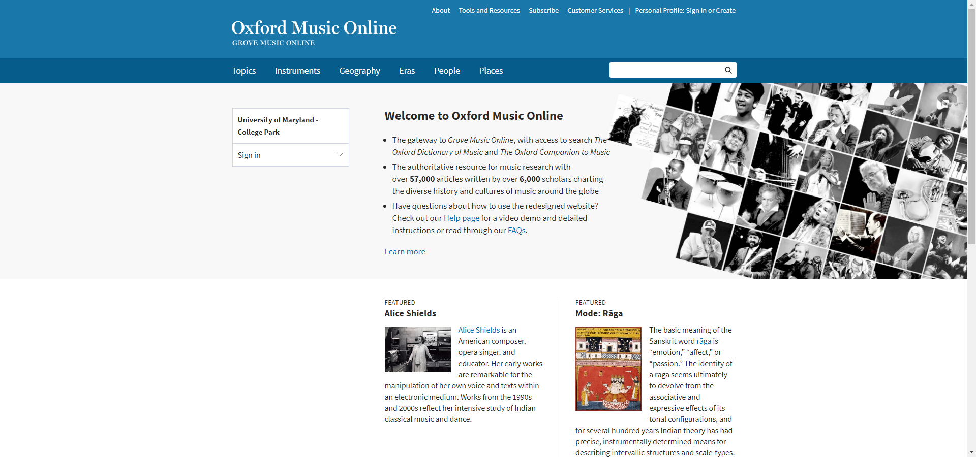 Homepage of Oxford Music Online.