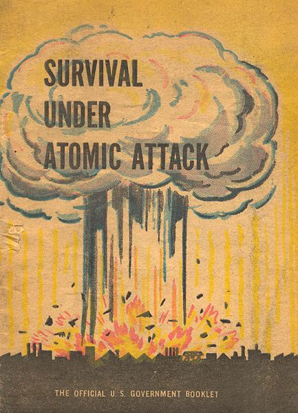 Survival Under Atomic Attack government booklet with an explosion on the cover