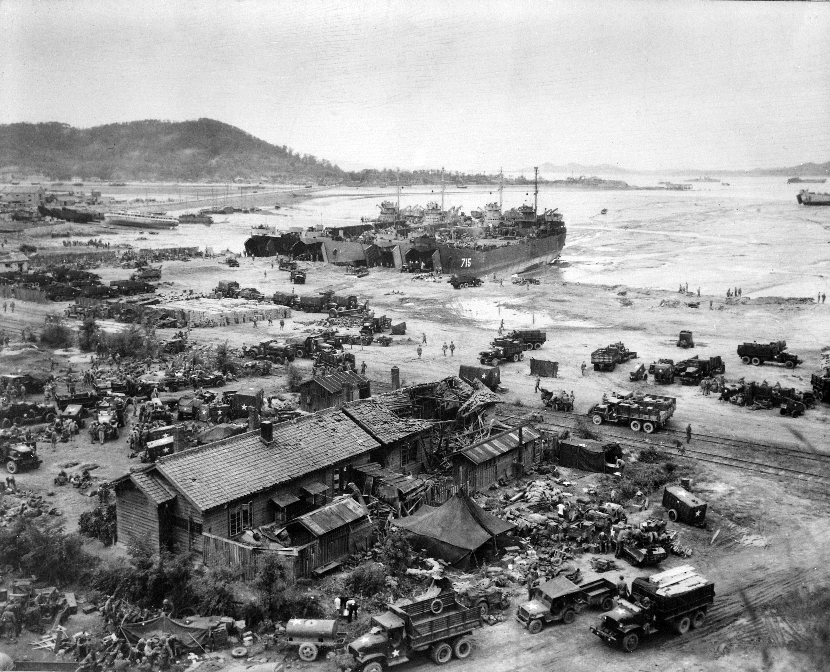 Tanks landing at Inchon, South Korea.