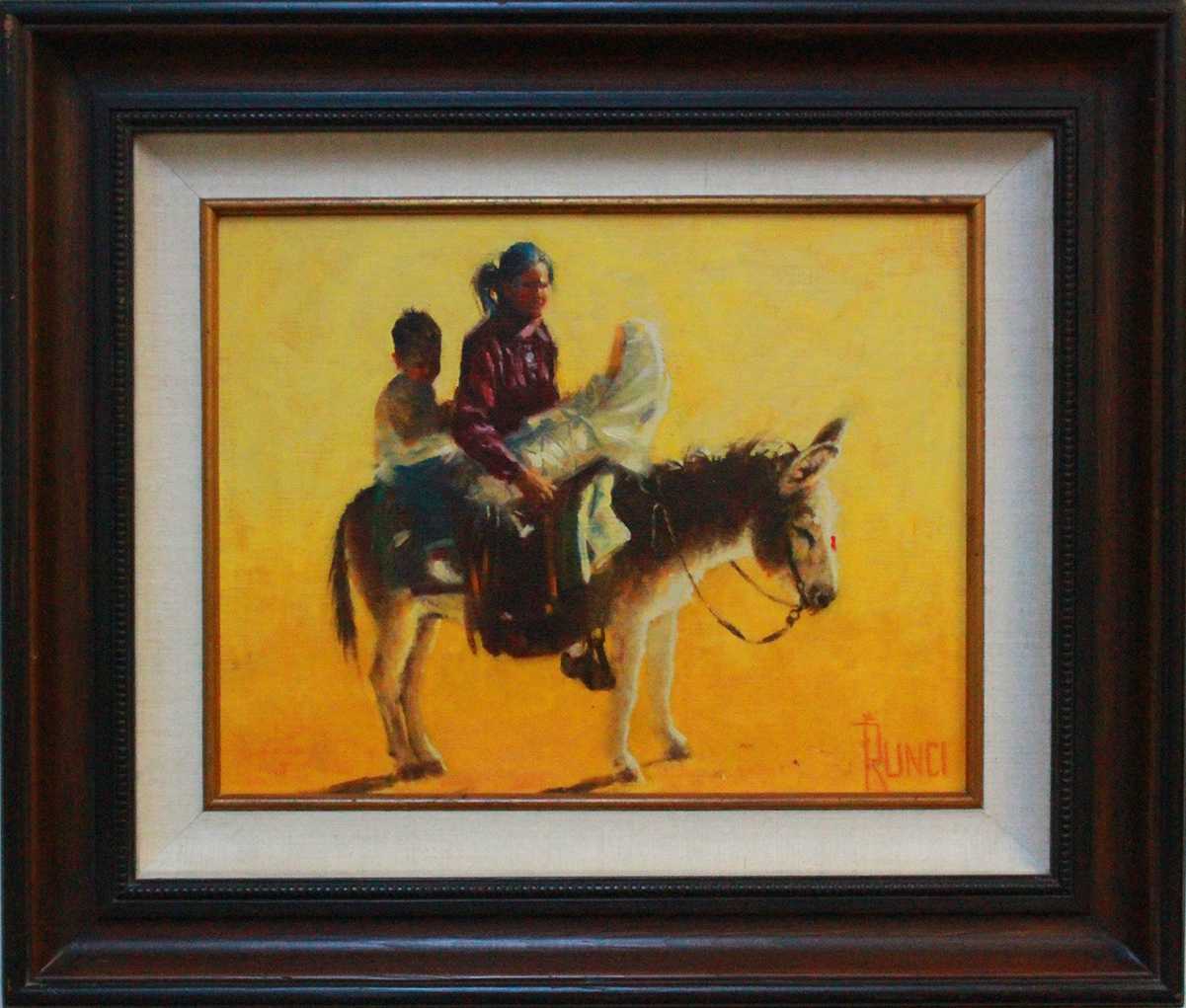 Painting of a Native American woman on a burro with two small children