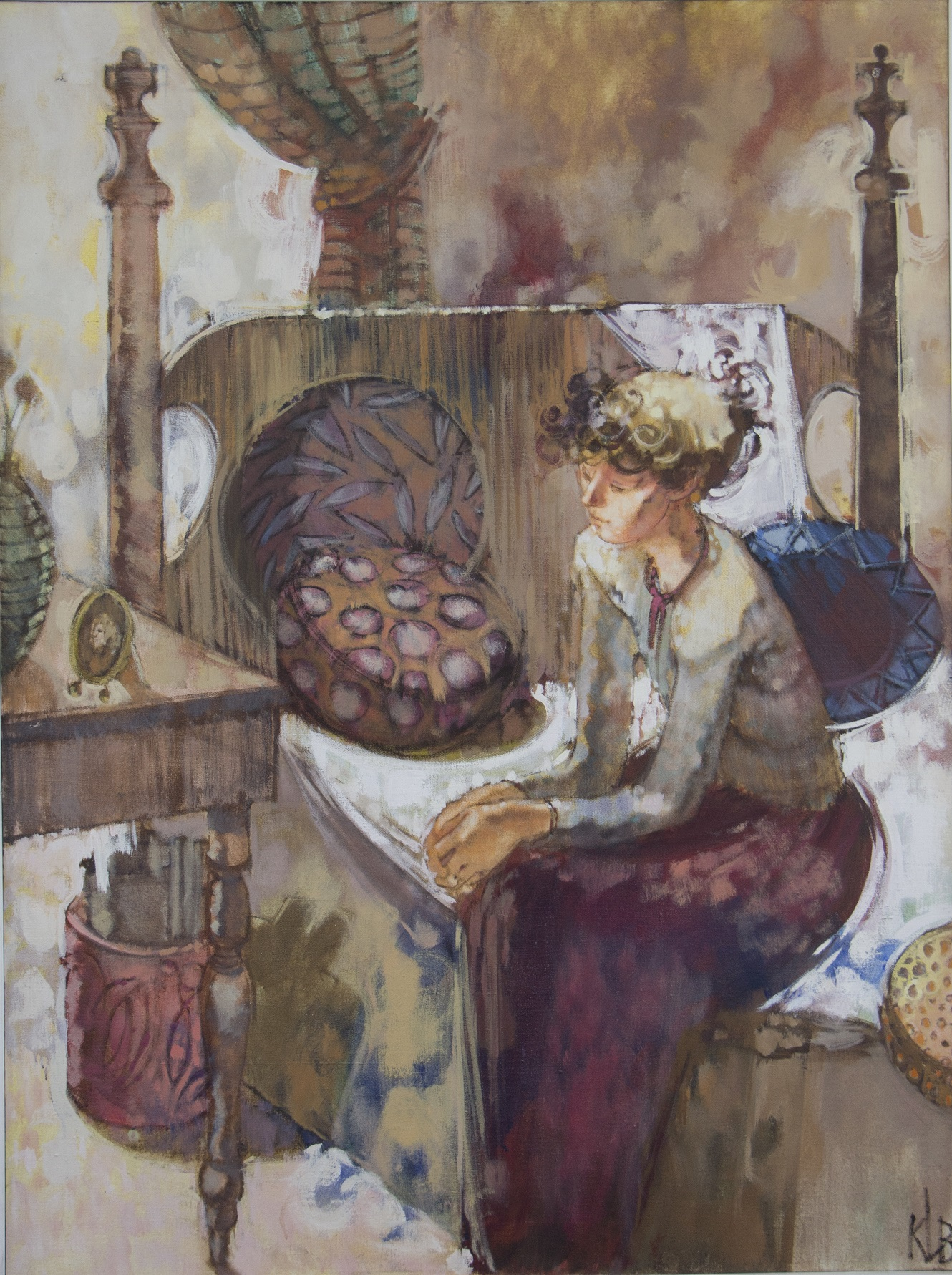 painting of a woman sitting on the edge of a 4 poster bed