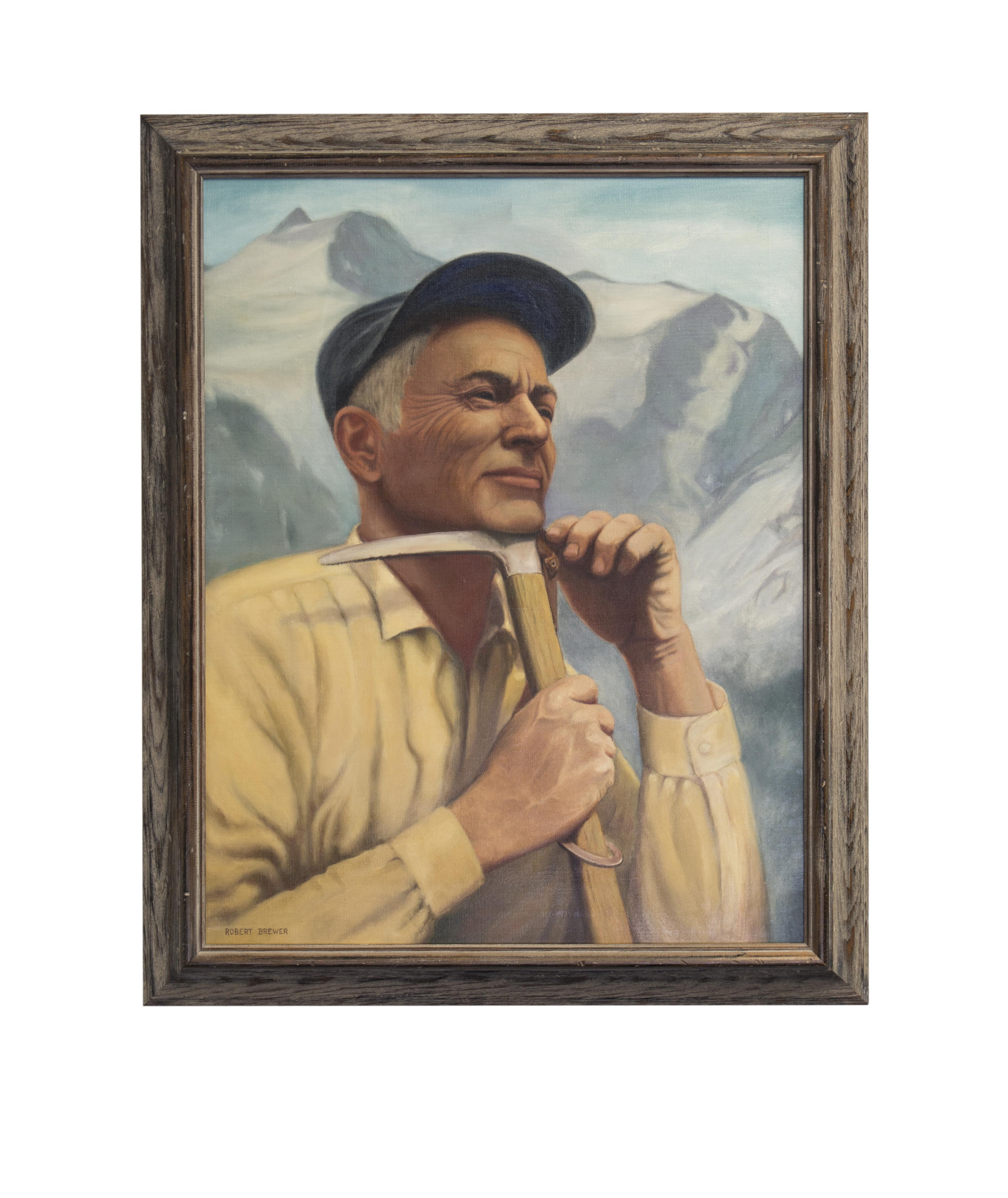 oil painting of older man in flannel and a cap with a climbing ax in front of a mountain