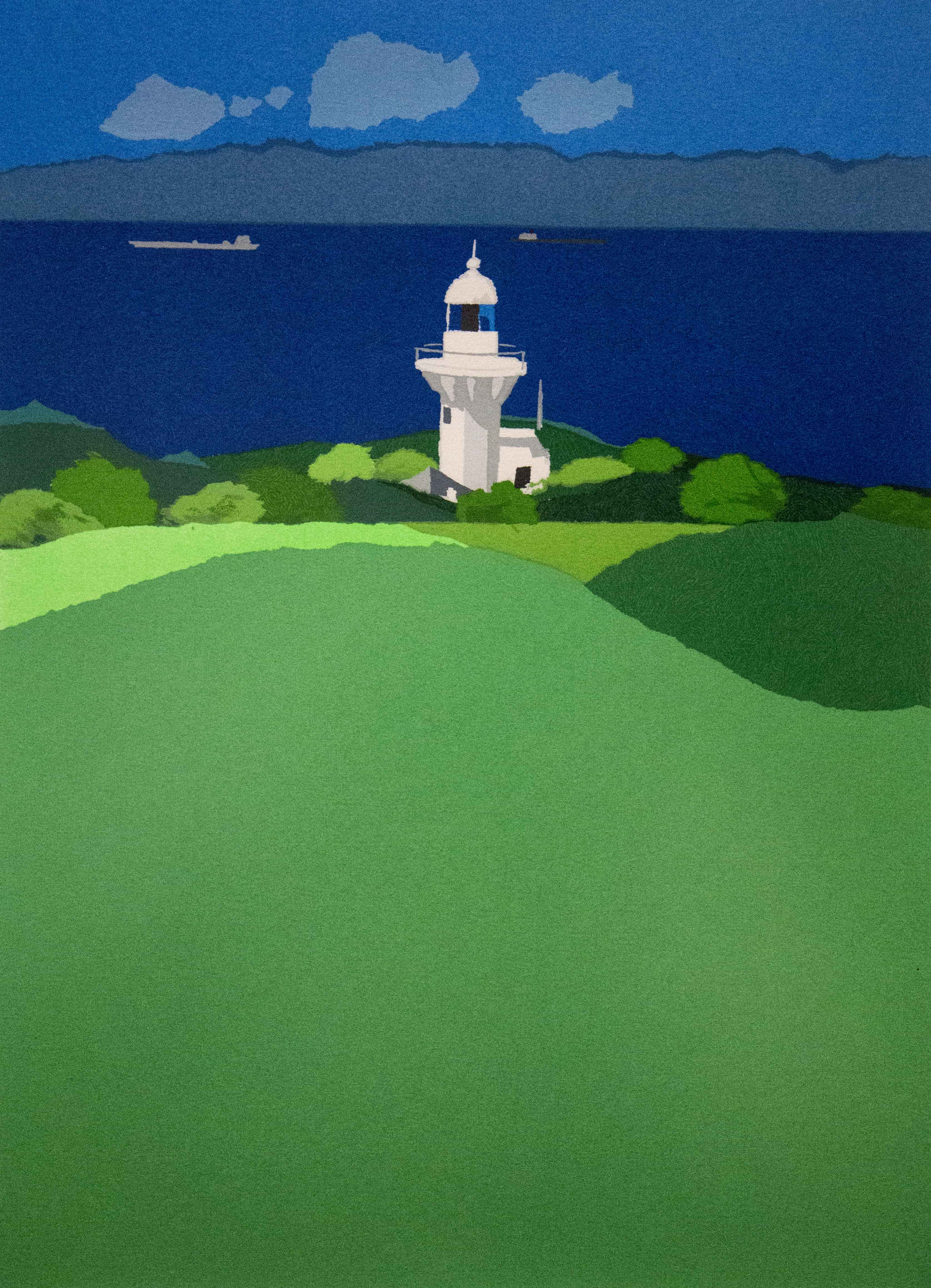 silk screen lighthouse image on a clear day