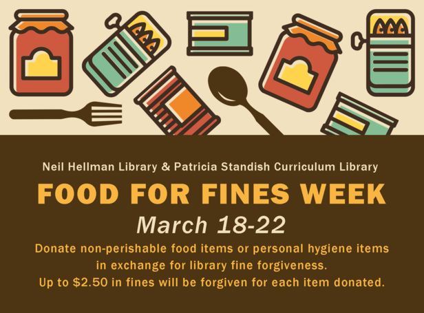 Food for Fines Week - March 18-22. Click for info